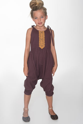 Burgundy Jumpsuit with Lace Detail - Kids Wholesale Boutique Clothing, Dress - Girls Dresses, Yo Baby Wholesale - Yo Baby