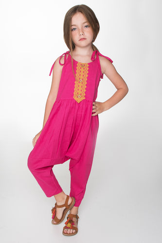 Hot Pink Jumpsuit with Lace Detail - Kids Wholesale Boutique Clothing, Dress - Girls Dresses, Yo Baby Wholesale - Yo Baby