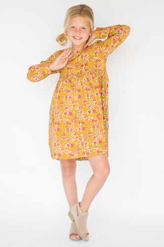 Yellow & Red Floral A-Line Dress