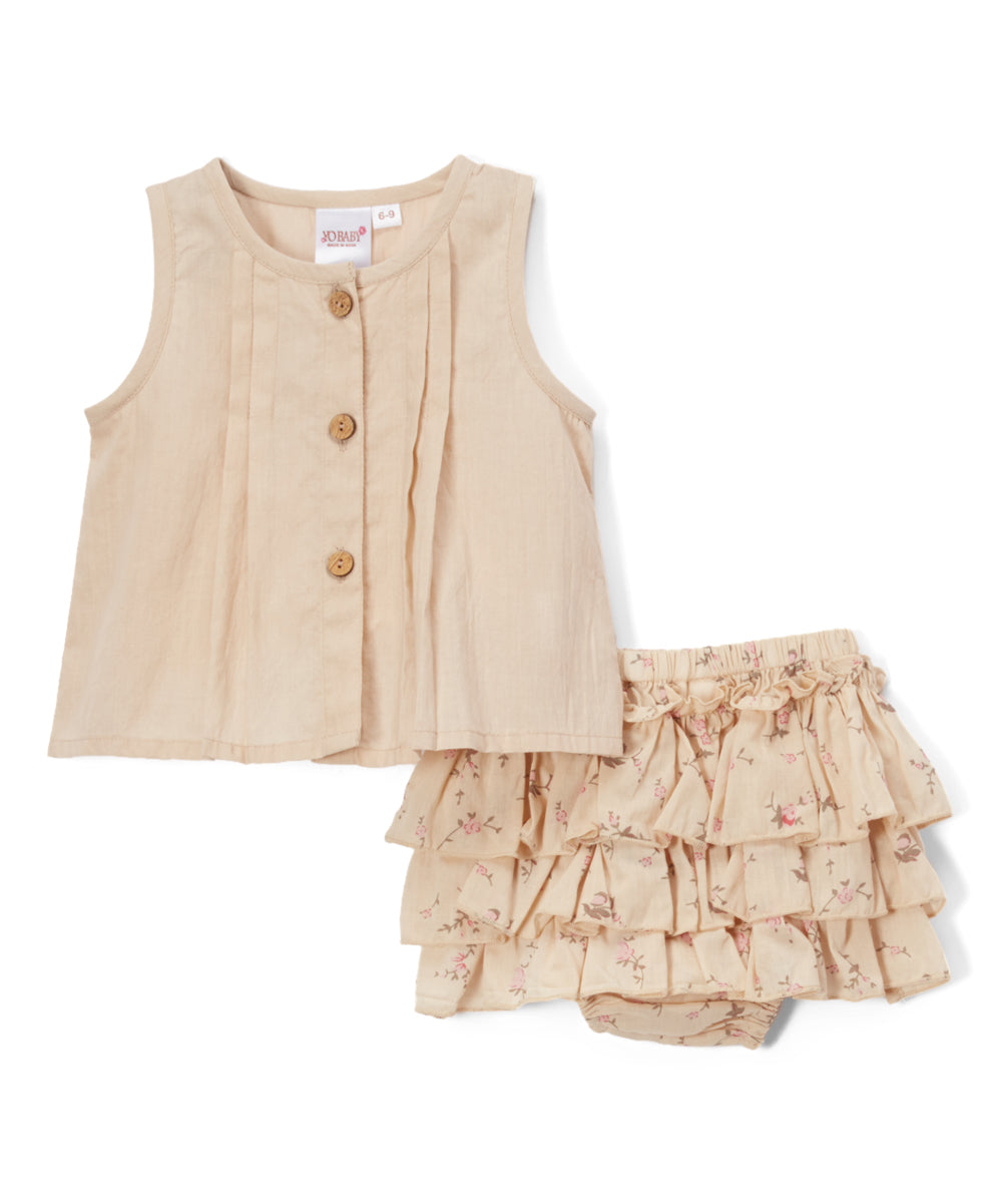 Peach Ruffled Diaper Cover and Peach Pleated Top  2pc.set - Kids Wholesale Boutique Clothing, 2-pc. set - Girls Dresses, Yo Baby Wholesale - Yo Baby