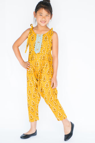 Yellow Harem style Jumpsuit with Lace Detail - Kids Wholesale Boutique Clothing, Dress - Girls Dresses, Yo Baby Wholesale - Yo Baby