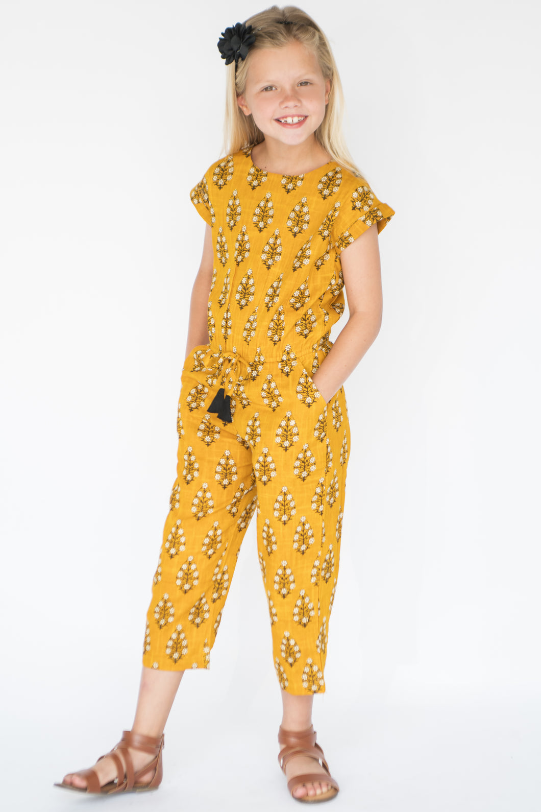 Yellow Jumpsuit With Black Accent - Kids Wholesale Boutique Clothing, Dress - Girls Dresses, Yo Baby Wholesale - Yo Baby