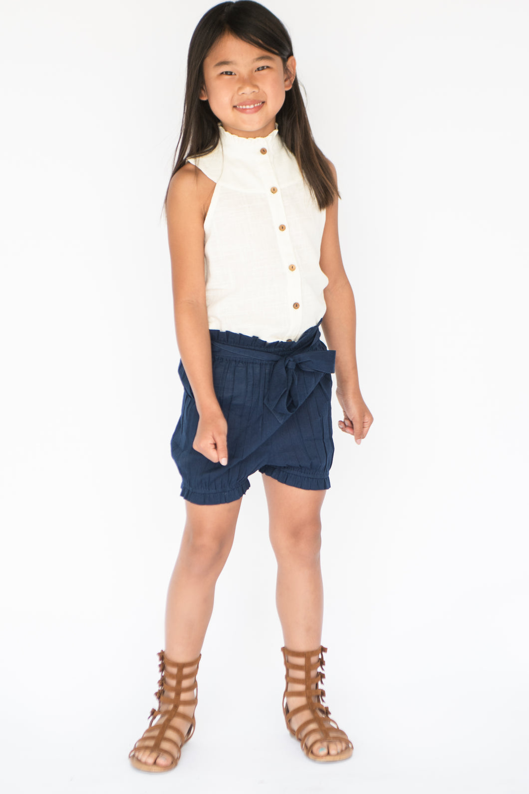 Navy-Blue High Waist Paper Bag style Shorts and Frill Blouse - Kids Wholesale Boutique Clothing, Dress - Girls Dresses, Yo Baby Wholesale - Yo Baby