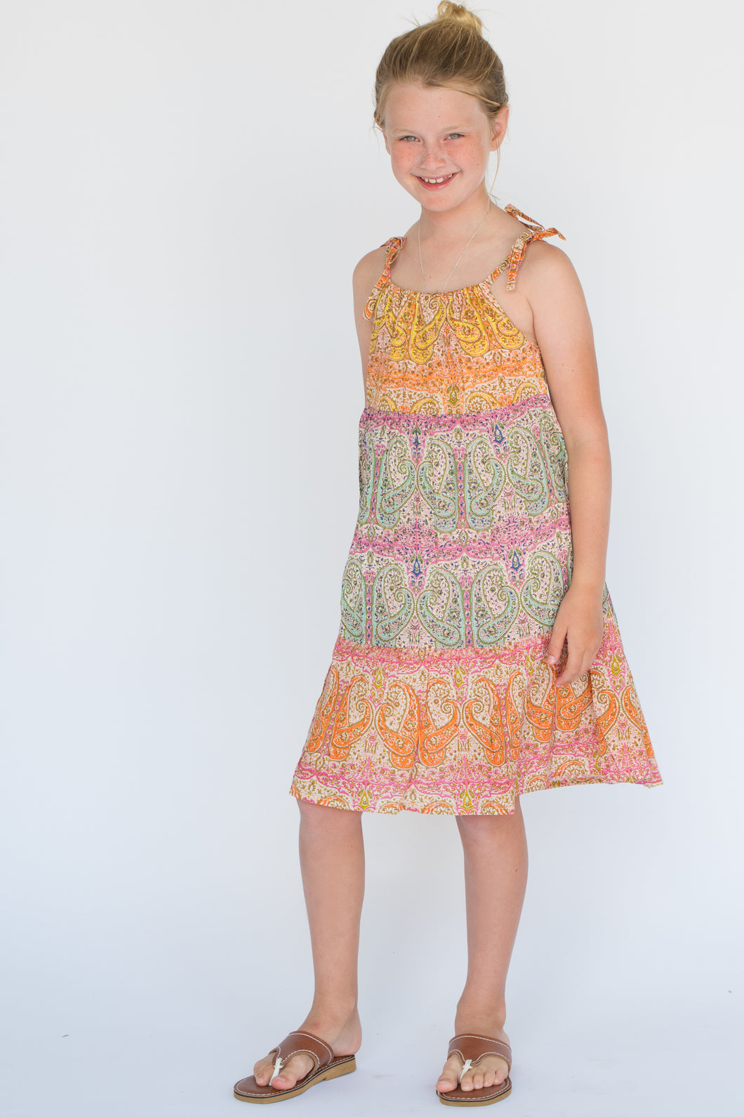 Multicolor Paisley Shoulder-Tie Dress - Kids Wholesale Boutique Clothing, Dress - Girls Dresses, Yo Baby Wholesale - Yo Baby