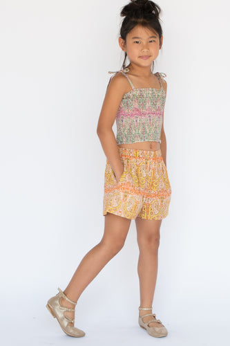 Paisley Smocked Top & Shorts Set - Kids Wholesale Boutique Clothing, 2-pc. set - Girls Dresses, Yo Baby Wholesale - Yo Baby