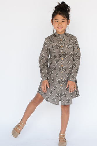 Grey Leaf Print Shirt Dress with Frill and Drawstring Detail - Kids Wholesale Boutique Clothing, Shirt-Dress - Girls Dresses, Yo Baby Wholesale - Yo Baby