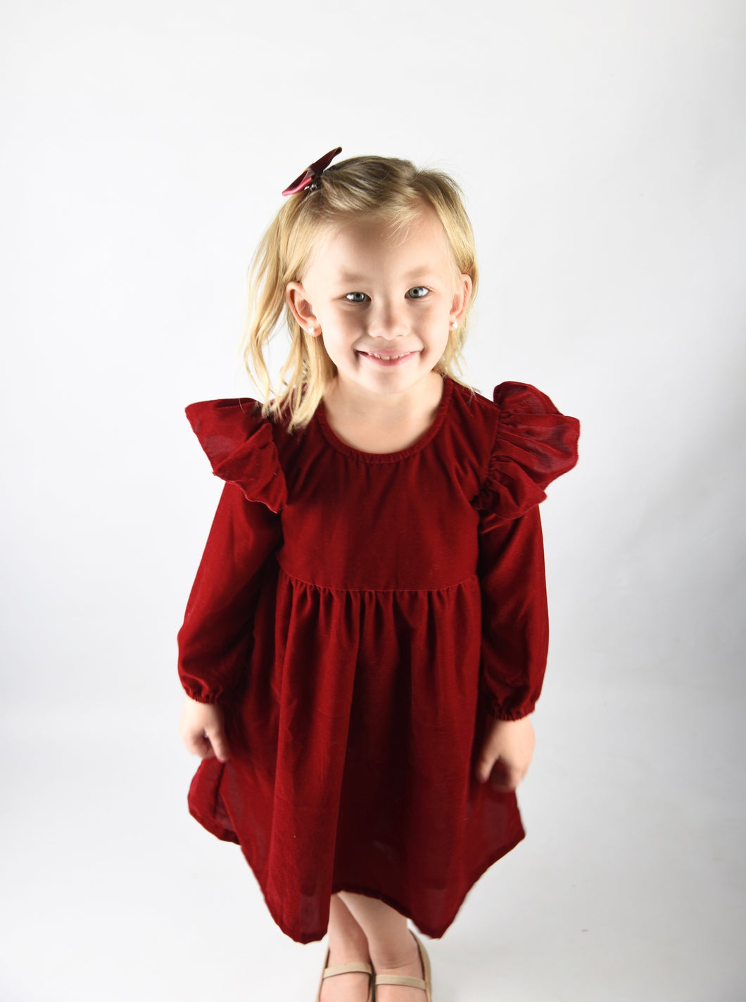 Christmas Red Velvet Dress - Kids Wholesale Boutique Clothing, Shirt-Dress - Girls Dresses, Yo Baby Wholesale - Yo Baby