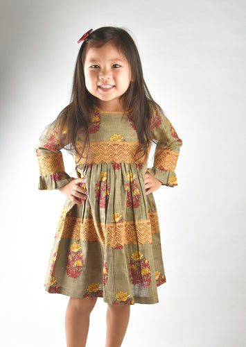 Cement Grey with Yellow Red Lace Detail Dress - Kids Wholesale Boutique Clothing, Dress - Girls Dresses, Yo Baby Wholesale - Yo Baby