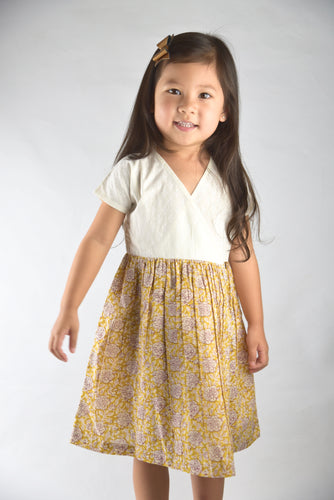 Off White and Mustard Floral Print Wrap Dress - Kids Wholesale Boutique Clothing, Dress - Girls Dresses, Yo Baby Wholesale - Yo Baby