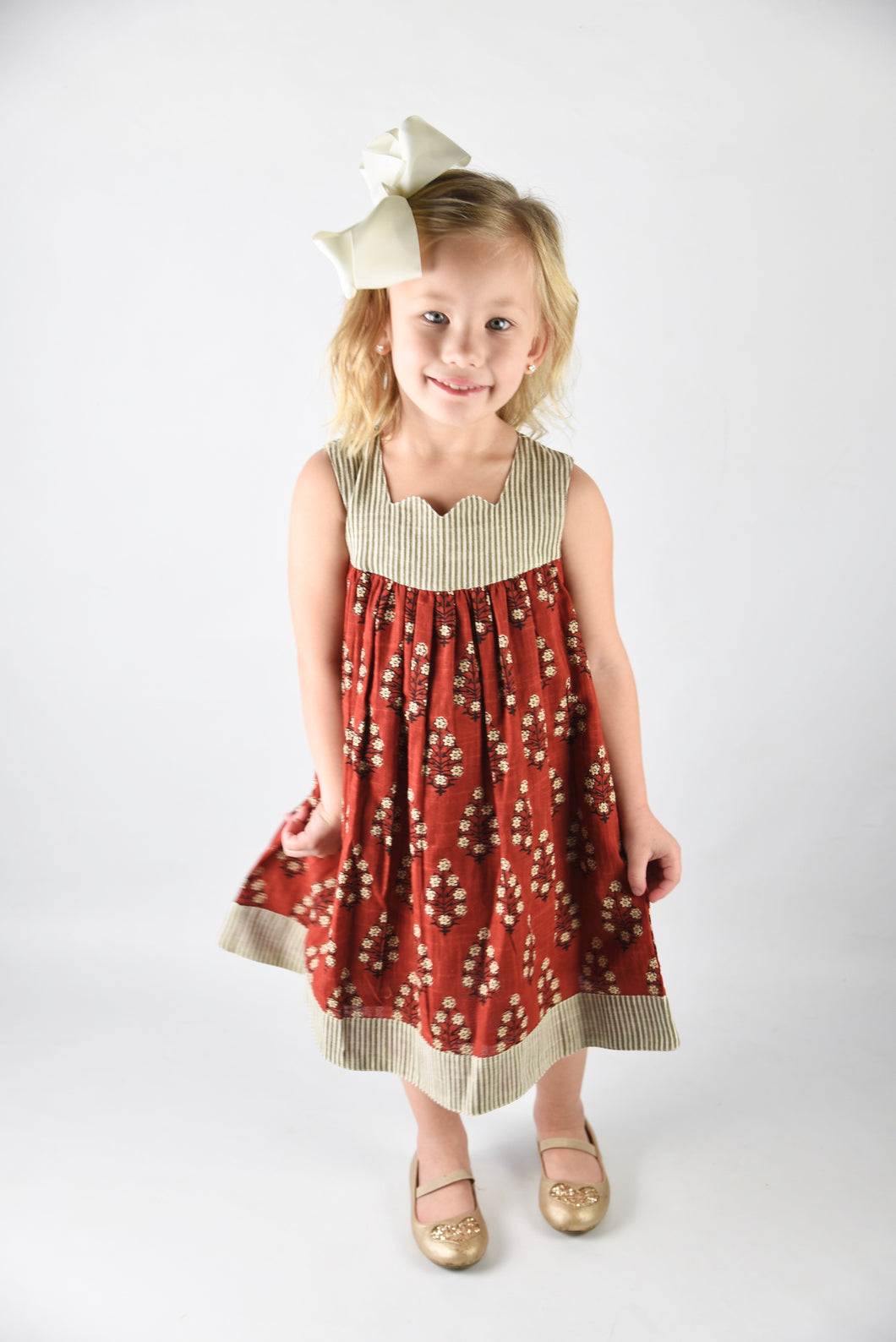 Maroon Sleeveless Dress with Pin Stripe Detail - Kids Wholesale Boutique Clothing, Dress - Girls Dresses, Yo Baby Wholesale - Yo Baby