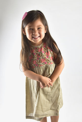 Floral & Stripes Shift Dress - Kids Wholesale Boutique Clothing, Dress - Girls Dresses, Yo Baby Wholesale - Yo Baby