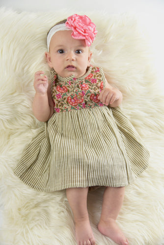 Pin Stripe With Floral Print Infant Dress with Matching Bloomers - Kids Wholesale Boutique Clothing, 2-pc. set - Girls Dresses, Yo Baby Wholesale - Yo Baby