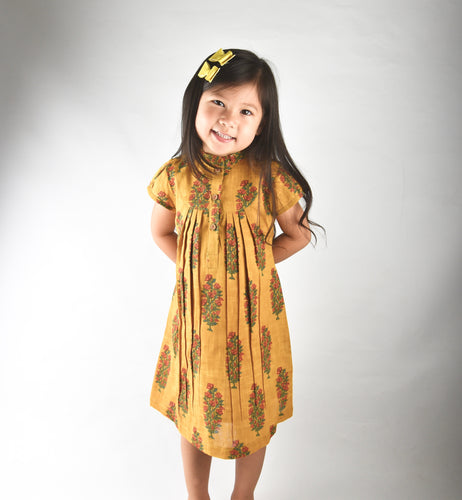 Mustard Printed Dress with Yoke Detail and Chinese Collar - Kids Wholesale Boutique Clothing, Dress - Girls Dresses, Yo Baby Wholesale - Yo Baby