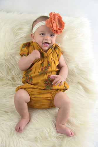 Mustard Printed Dress with Yoke Detail and Chinese Collar Infant Dress - Kids Wholesale Boutique Clothing, 2-pc. set - Girls Dresses, Yo Baby Wholesale - Yo Baby