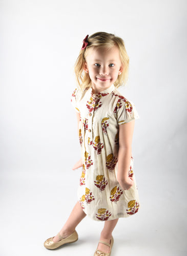 Off white Printed Dress with Yoke Detail and Chinese Collar - Kids Wholesale Boutique Clothing, Dress - Girls Dresses, Yo Baby Wholesale - Yo Baby