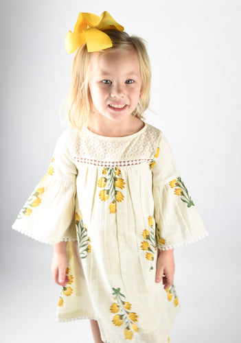 Off White and Yellow Floral Dress with Lace Detail - Kids Wholesale Boutique Clothing, Dress - Girls Dresses, Yo Baby Wholesale - Yo Baby