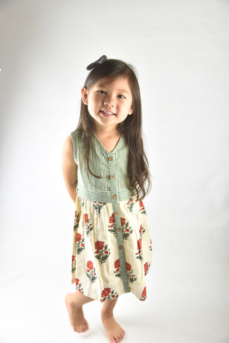 Off-white with Red Orange Floral Print and Green Pinstripe Belted Dress - Kids Wholesale Boutique Clothing, Dress - Girls Dresses, Yo Baby Wholesale - Yo Baby
