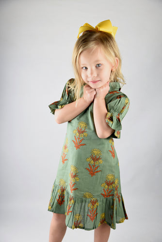 Sage Green Printed Dress with Puff Sleeves and Collar - Kids Wholesale Boutique Clothing, Dress - Girls Dresses, Yo Baby Wholesale - Yo Baby