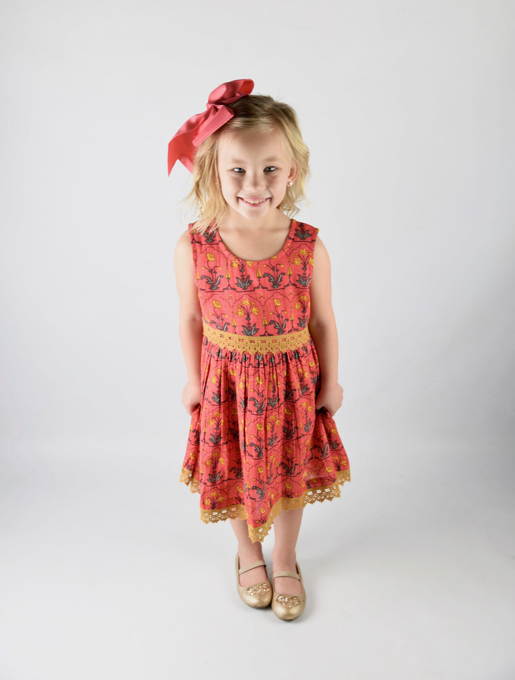 Peach and Yellow Print and Lace Detail Dress - Kids Wholesale Boutique Clothing, Dress - Girls Dresses, Yo Baby Wholesale - Yo Baby