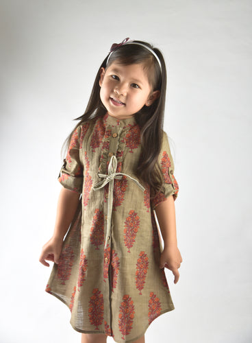 Brown Printed Shirt Dress with Pin-Tuck and Frill