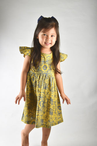 Printed Yellow Flutter Sleeve Dress - Kids Wholesale Boutique Clothing, Dress - Girls Dresses, Yo Baby Wholesale - Yo Baby