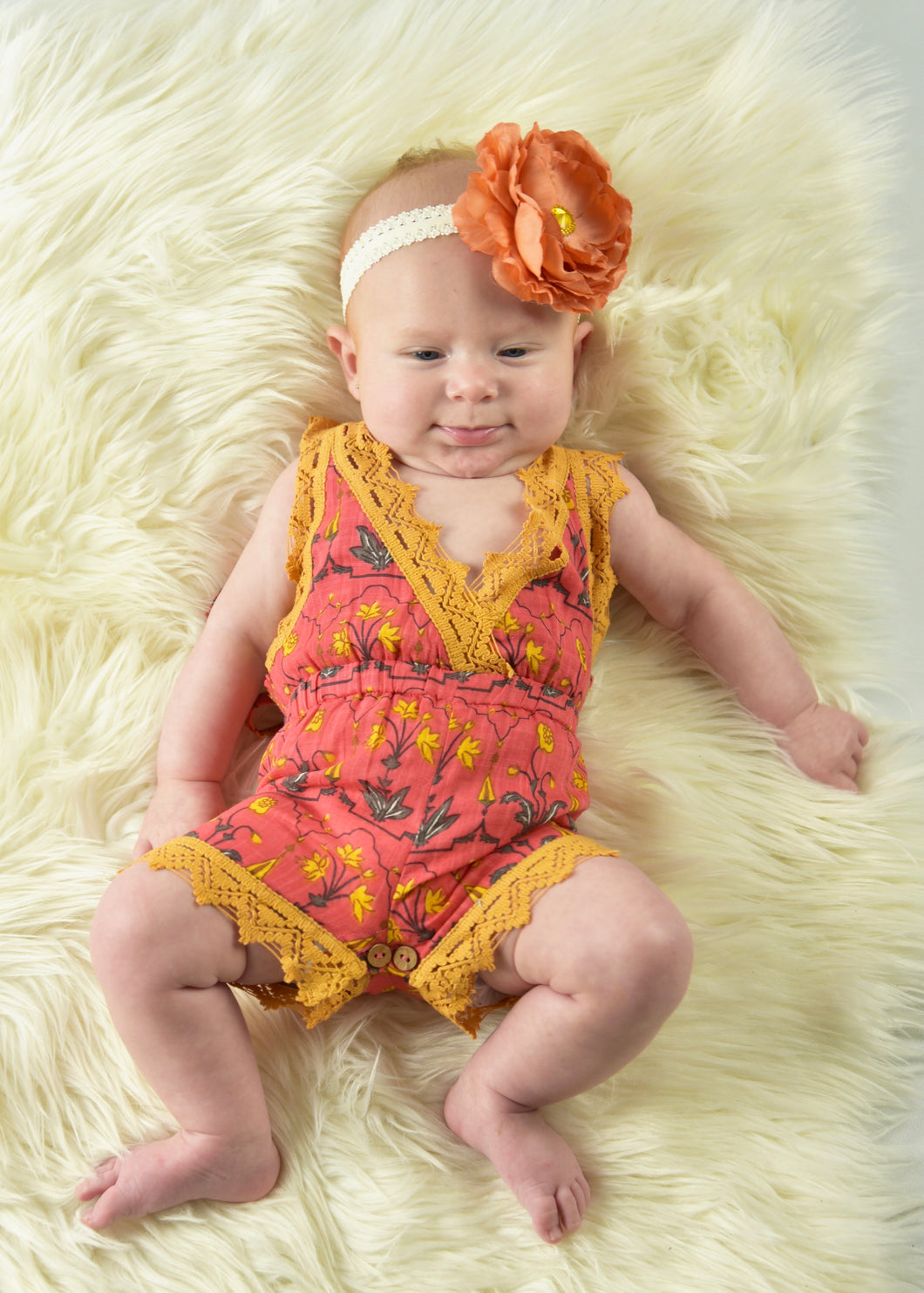 Printed Coral Playsuit with Lace Detail - Kids Wholesale Boutique Clothing, 2-pc. set - Girls Dresses, Yo Baby Wholesale - Yo Baby