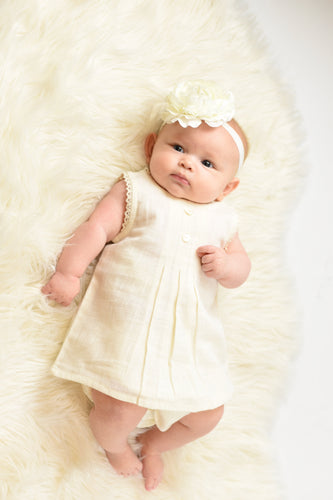 Ivory Lace Dress & Diaper Cover - Kids Wholesale Boutique Clothing, 2-pc. set - Girls Dresses, Yo Baby Wholesale - Yo Baby