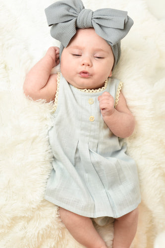 Powder Blue Lace Dress & Diaper Cover - Kids Wholesale Boutique Clothing, 2-pc. set - Girls Dresses, Yo Baby Wholesale - Yo Baby