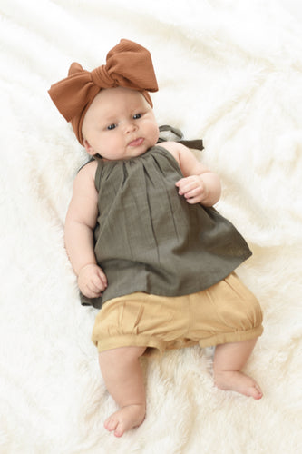Grey Top with Shoulder Ties & Tan Shorts Set