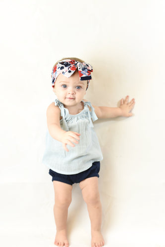 Sky Blue Top with Shoulder Ties & Navy Shorts Set