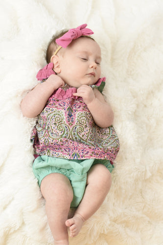 Limited Edition - Ruffled Paisley Top With Diaper Cover Set