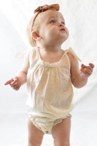 Ivory Romper with Shoulder Ties