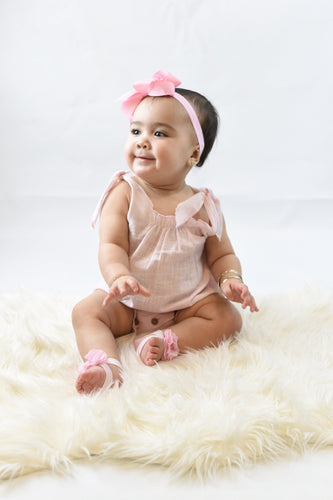 Baby Pink Romper with Shoulder Ties