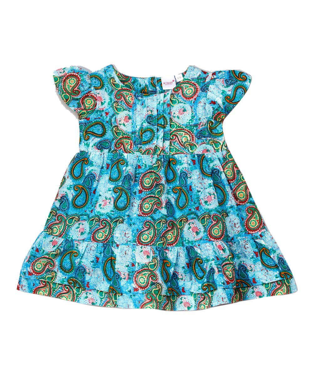 Blue Paisley Infant Dress