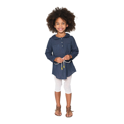 Navy Peter Pan Collar Tunic with Rope Belt - Kids Wholesale Boutique Clothing, Dress - Girls Dresses, Yo Baby Wholesale - Yo Baby