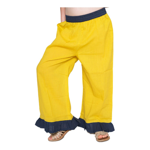 Sun-shine Yellow with Blue Frill Pants - Kids Wholesale Boutique Clothing, Pants - Girls Dresses, Yo Baby Wholesale - Yo Baby