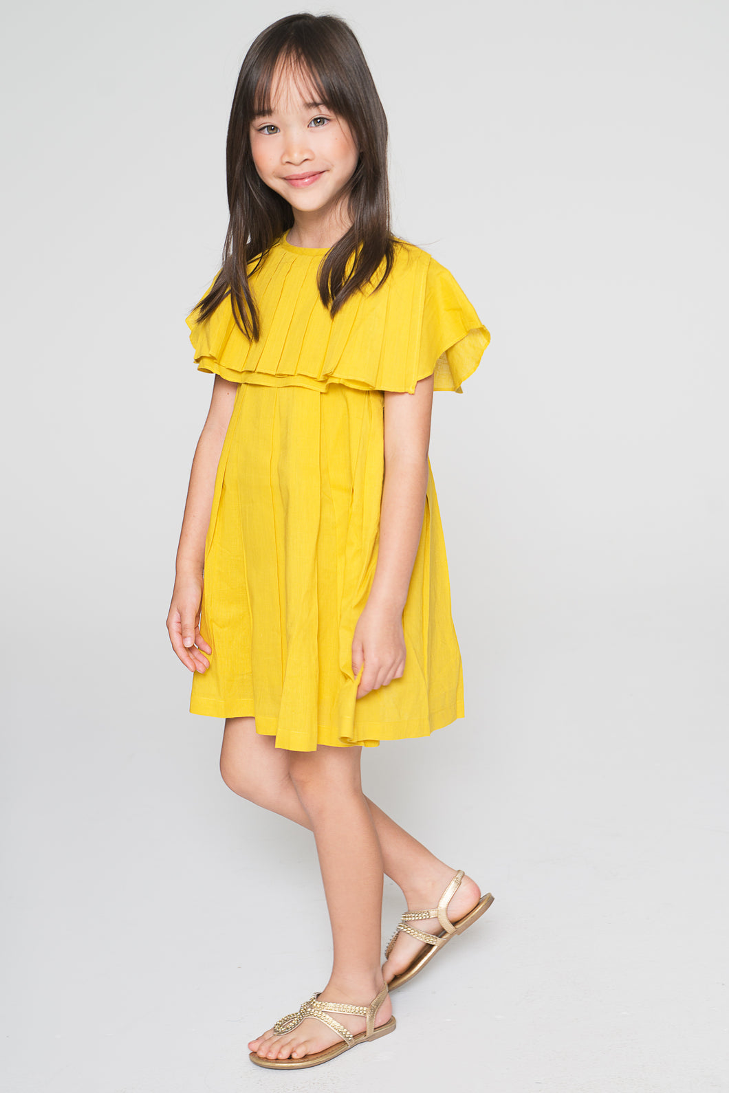 Yellow Flounce Dress - Kids Wholesale Boutique Clothing, Dress - Girls Dresses, Yo Baby Wholesale - Yo Baby