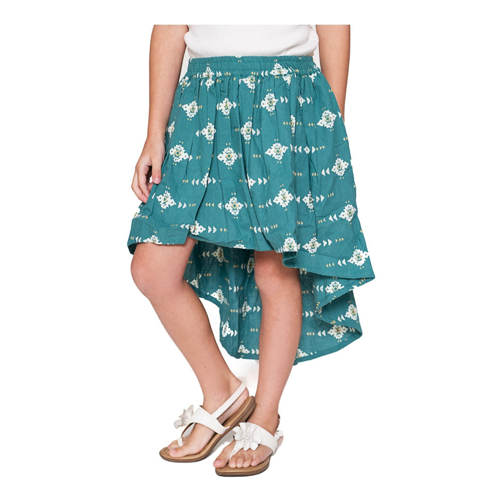 Teal High Low Skirt - Kids Wholesale Boutique Clothing, Skirt - Girls Dresses, Yo Baby Wholesale - Yo Baby