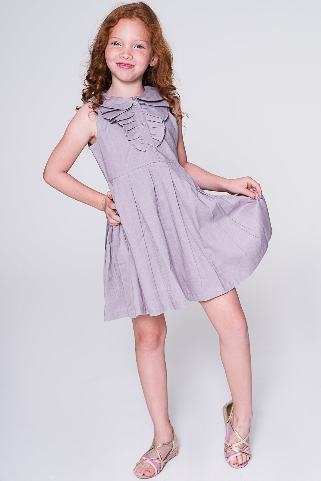 Lavender Dress with Frill Detail - Kids Wholesale Boutique Clothing, Dress - Girls Dresses, Yo Baby Wholesale - Yo Baby