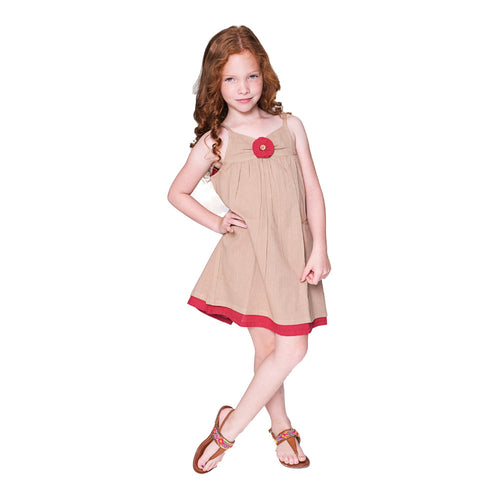 Tan and Red Flower Detail Dress - Kids Wholesale Boutique Clothing, Dress - Girls Dresses, Yo Baby Wholesale - Yo Baby