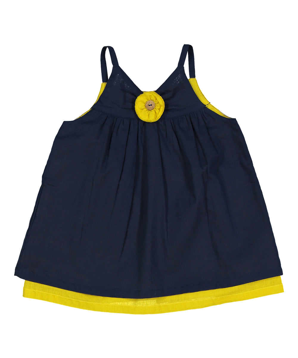 Blue and Yellow Back Open Infant Dress - Kids Wholesale Boutique Clothing, Dress - Girls Dresses, Yo Baby Wholesale - Yo Baby