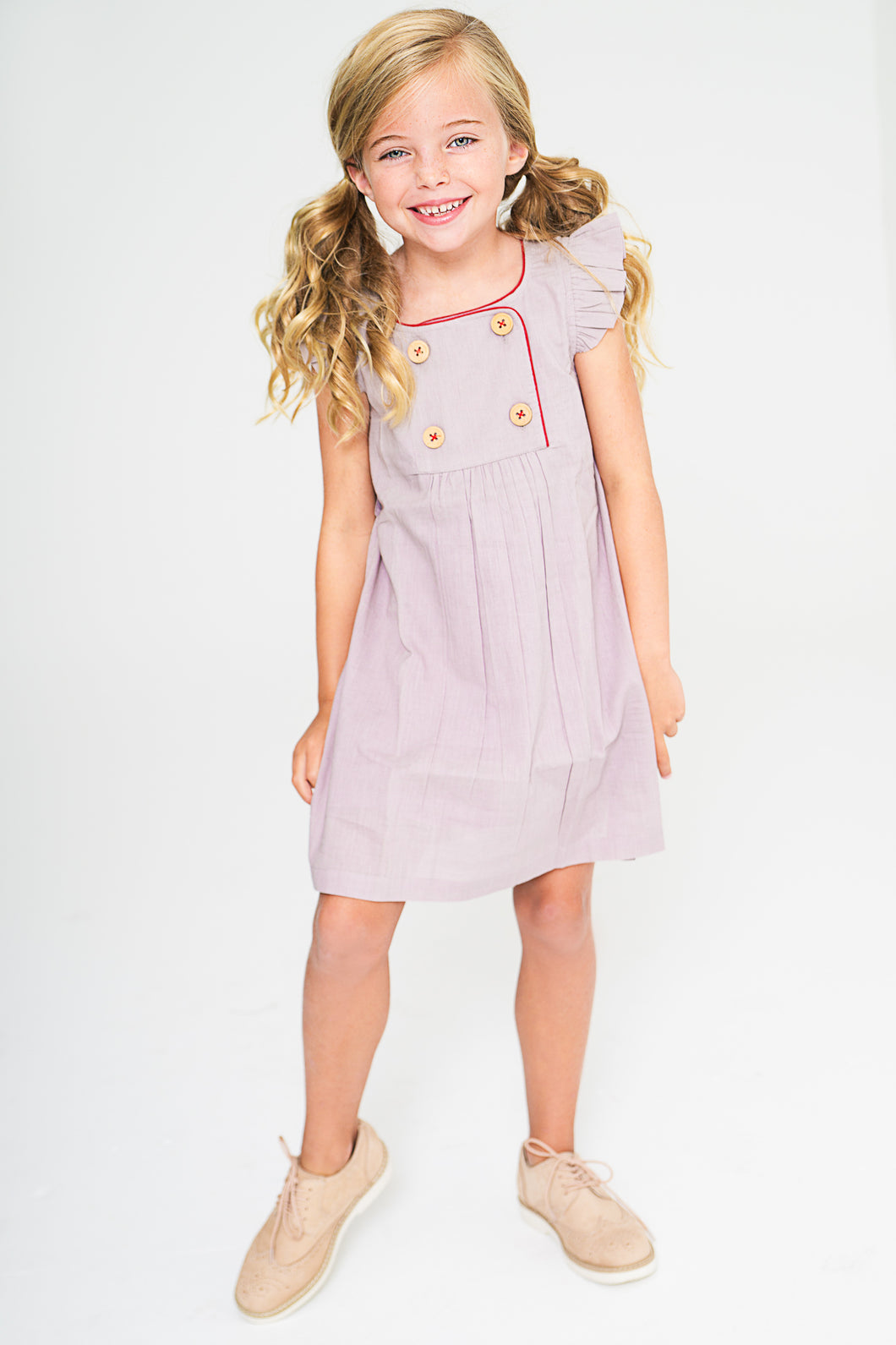 Lavender Shift Dress With Button Detail and Red Trim - Kids Wholesale Boutique Clothing, Dress - Girls Dresses, Yo Baby Wholesale - Yo Baby