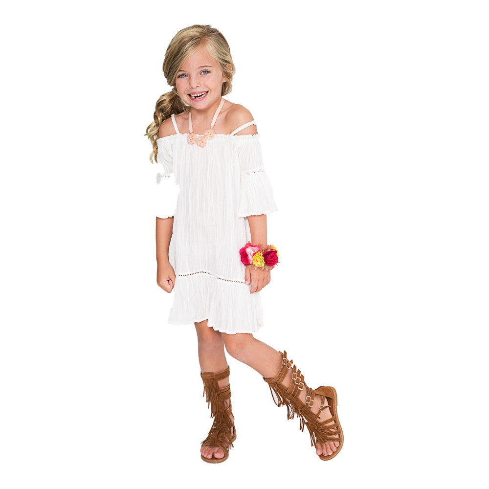 Off-White Lace Detail Off-Shoulder Dress - Kids Wholesale Boutique Clothing, Dress - Girls Dresses, Yo Baby Wholesale - Yo Baby