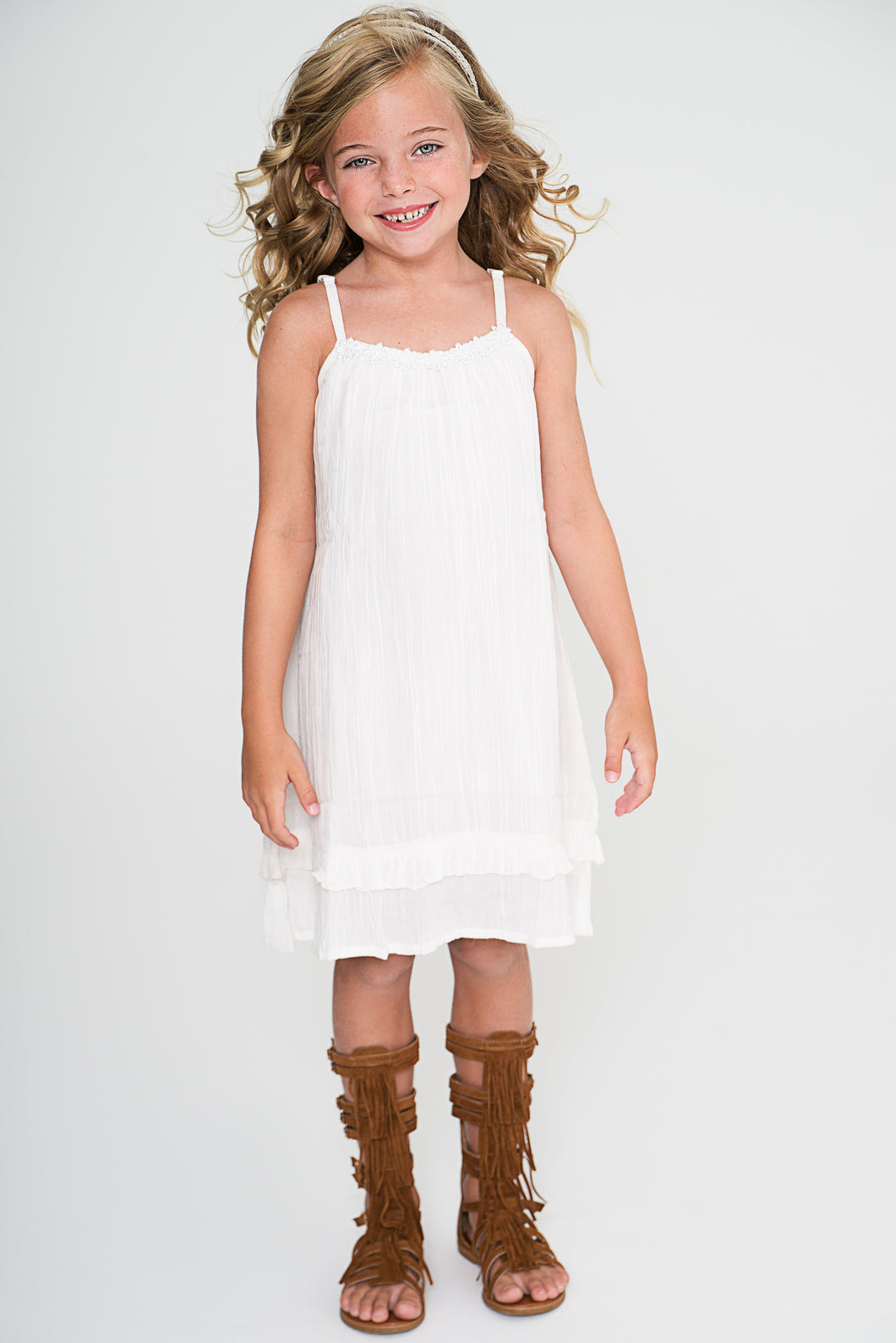 Off-white Flower Lace Detail Strap Dress - Kids Wholesale Boutique Clothing, Dress - Girls Dresses, Yo Baby Wholesale - Yo Baby
