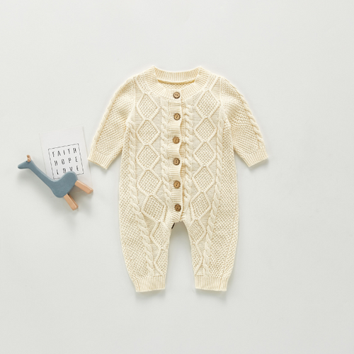 Ivory Cable Knit Sweater-Romper - Unisex