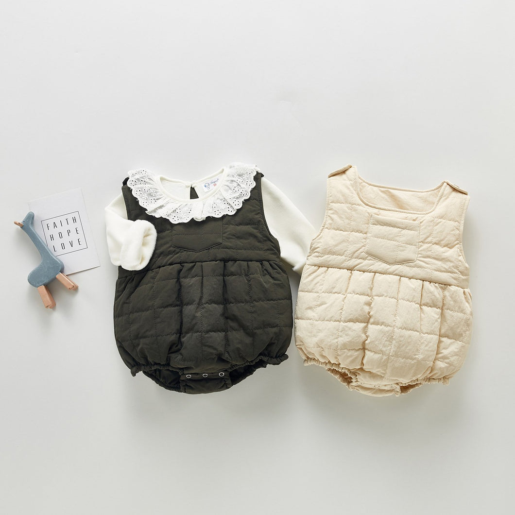 Girls Knit Top & Quilted Tank Romper - 2 Pc Set