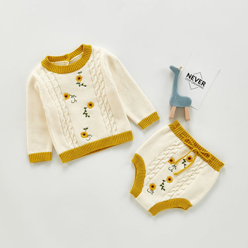 Hand-Embroidered Floral Romper & Shorts 2 Pc Sweater Set
