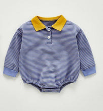 Striped & Contrast-Collar Full-Sleeves Infant Romper - Boys