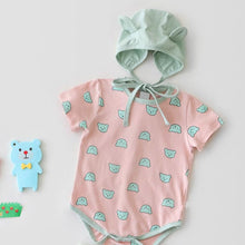 Cartoon-Print Infant Romper & Hat Set- Unisex