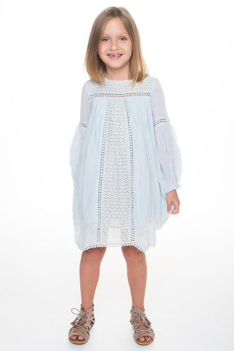Light Blue Lace Detail Dress - Kids Wholesale Boutique Clothing, Dress - Girls Dresses, Yo Baby Wholesale - Yo Baby